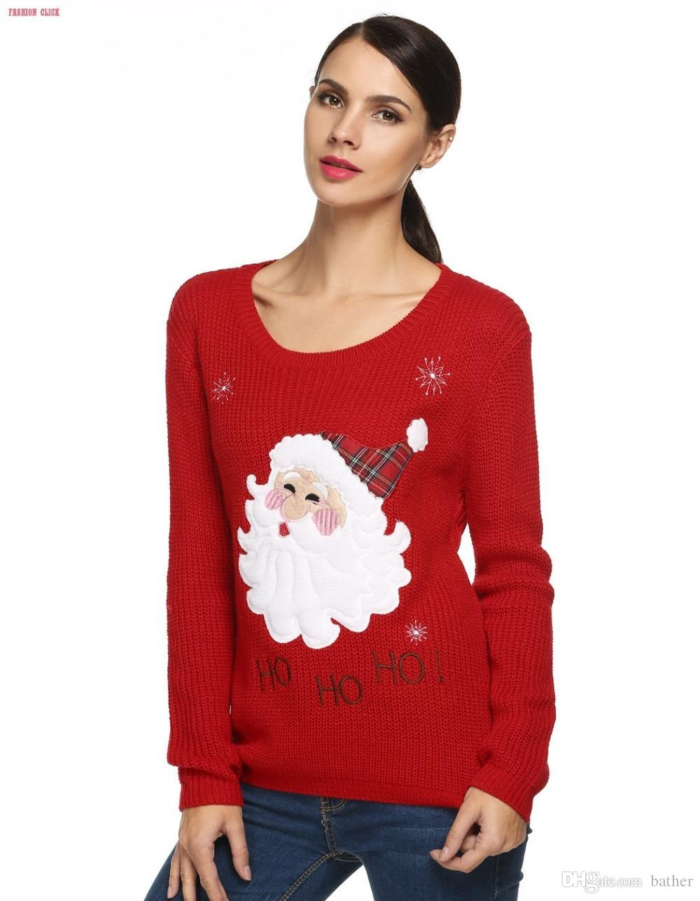 2018 Wholesale Black Red Christmas Sweater Women 2016 Knitted ...