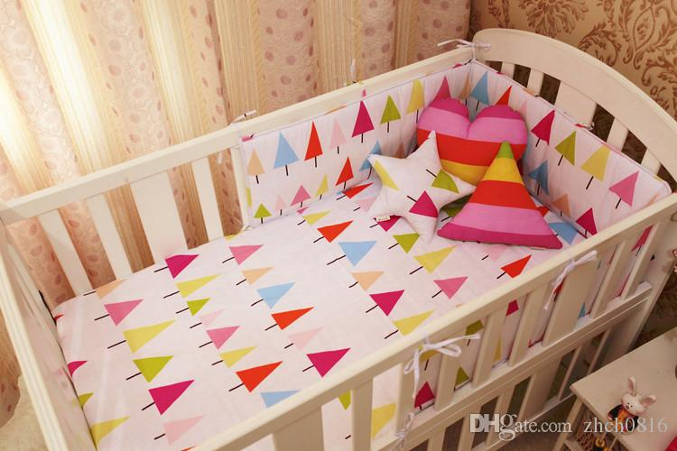 Nordic Style Baby Bumpers Cotton Printing Soft Anti-Collision Baby Cot Bumpers Bed Around Crib Cozy Decoration