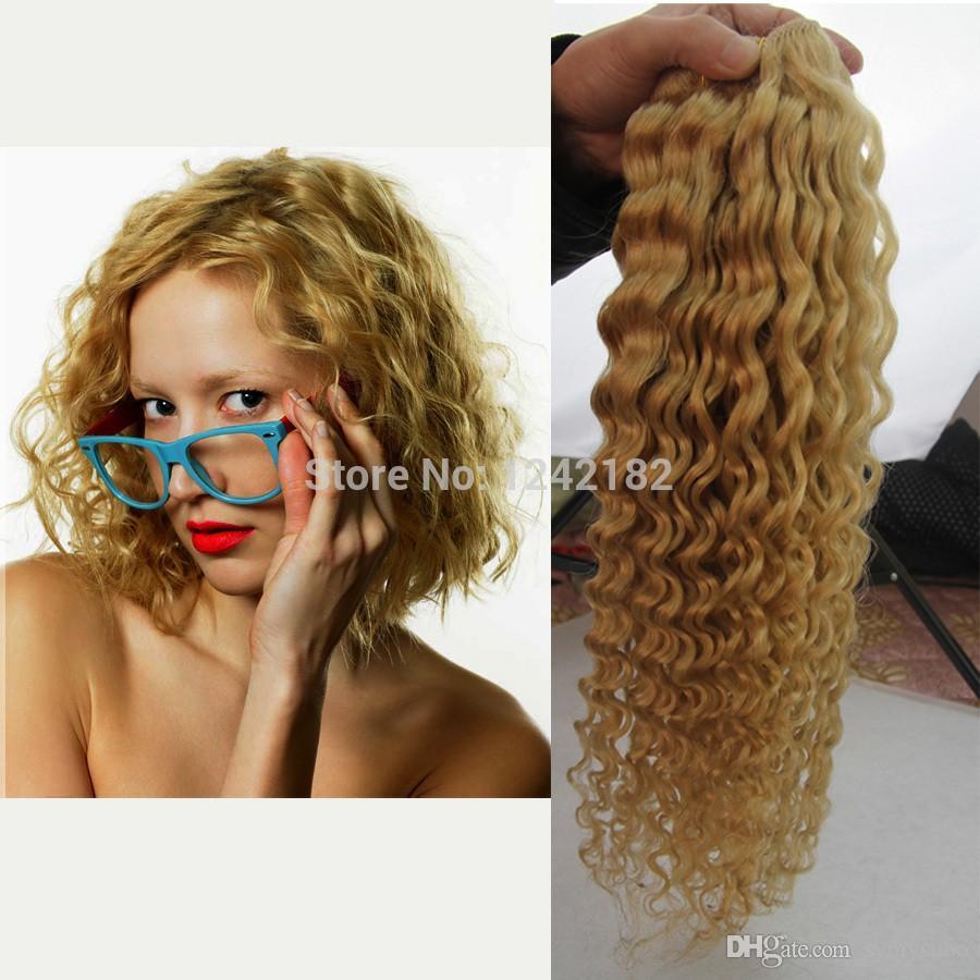 Capelli biondi della candeggina tessono l'onda profonda naturale brasiliana / delle estensioni bionde / dei capelli 8-26 pollici