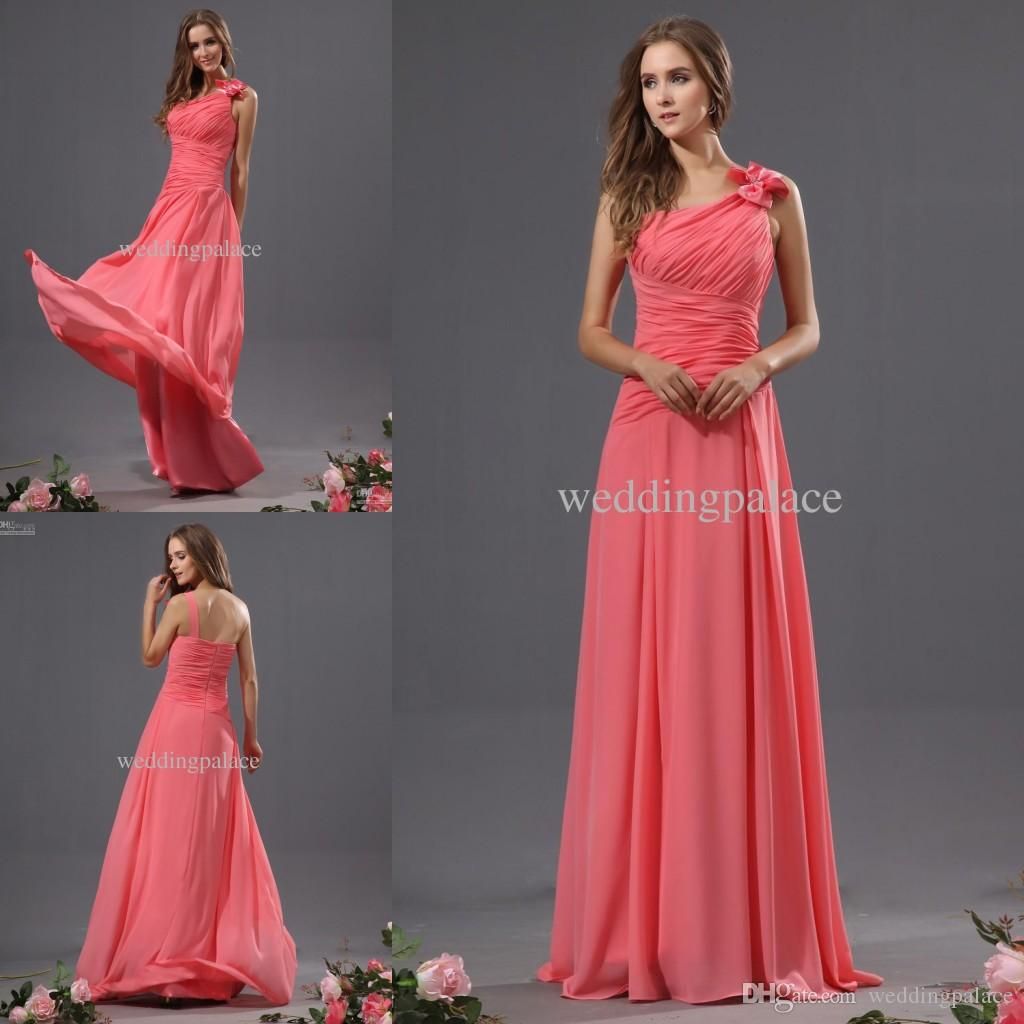 Hot elegant one shoulder chiffon long bridesmaid dresses pleats hot elegant one shoulder chiffon long bridesmaid dresses pleats floor length zipper back bridesmaid gowns evening dresses for wedding party print bridesmaid ombrellifo Gallery