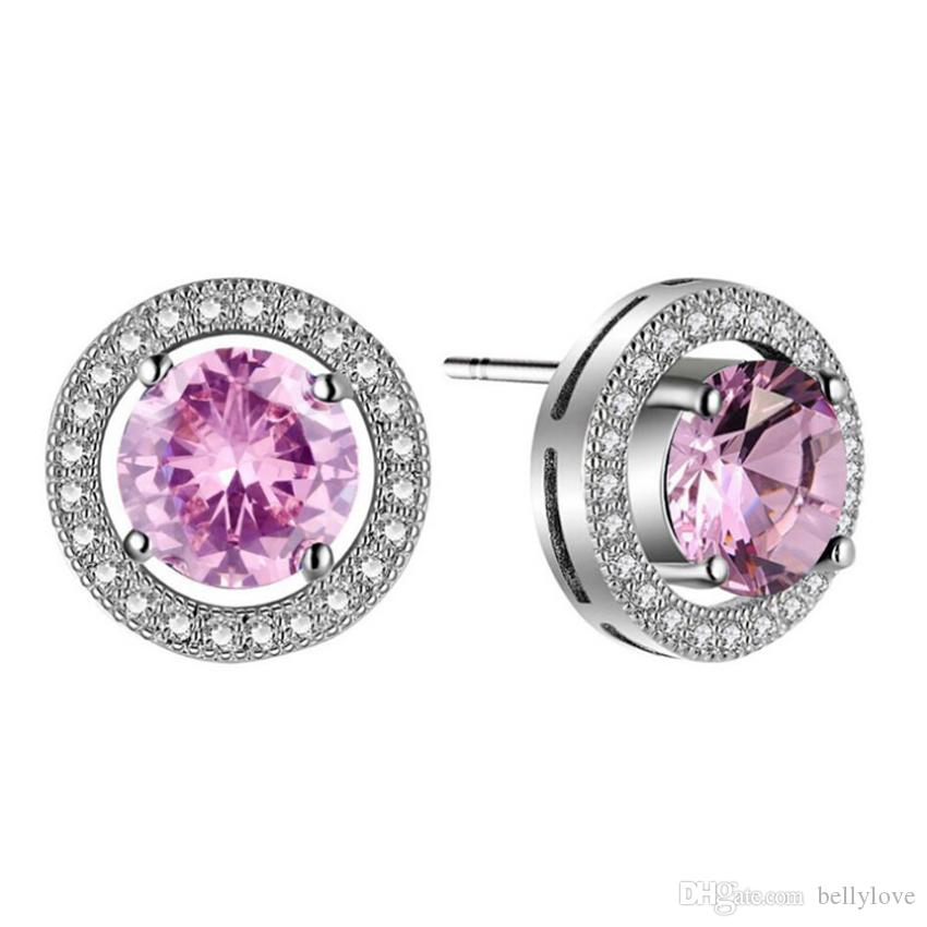 18K White Gold Plated Clear Crystal Cluster Big Blue/Pink Cubic Zirconia CZ Round Stud Earrings for Women Girls Christmas Gift