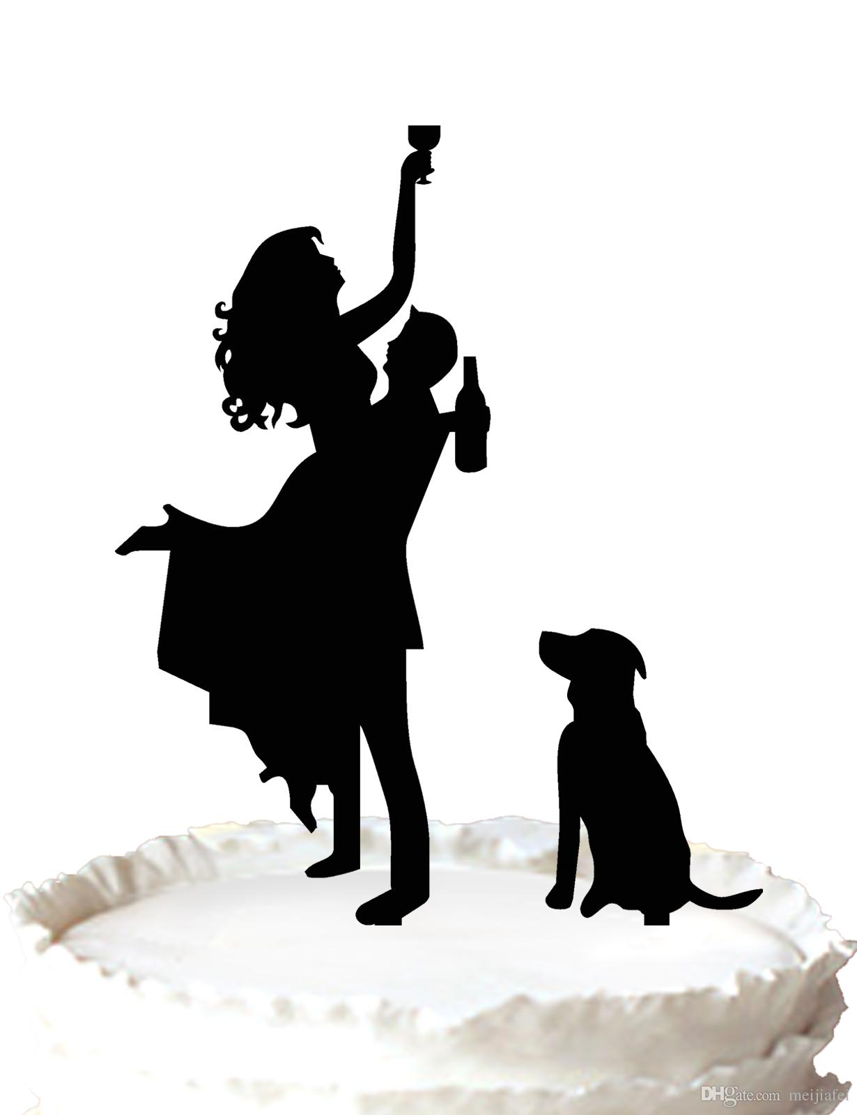 2019 Funny Wedding Cake Topper Silhouette Pet Dog And Drunk Bride