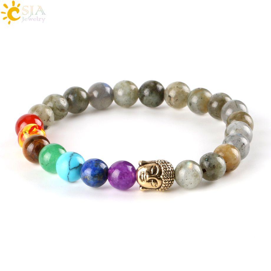 CSJA 8mm Women Men Bangles Real Labradorite Spectrolite Beaded Bracelets Natural Stone Loose 7 Chakra Meditation Beads OM Buddha Charms E447