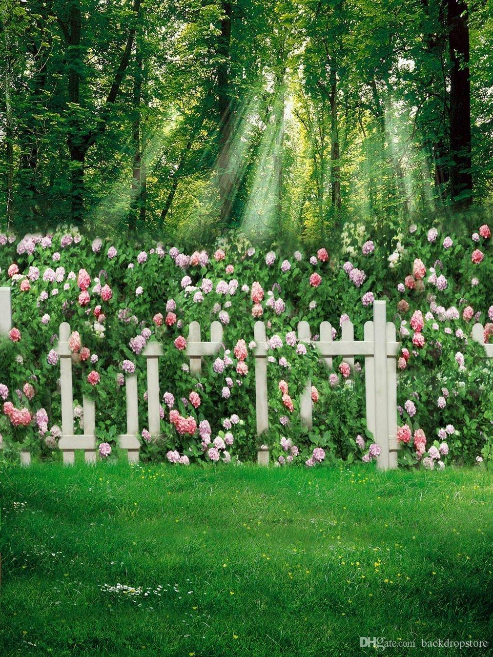 2018 Spring Summer Garden View Backdrop Green Grass Floor Forest Trees  White Fence Pink Flowers Outdoor Scenic Kids Photography Background From ...