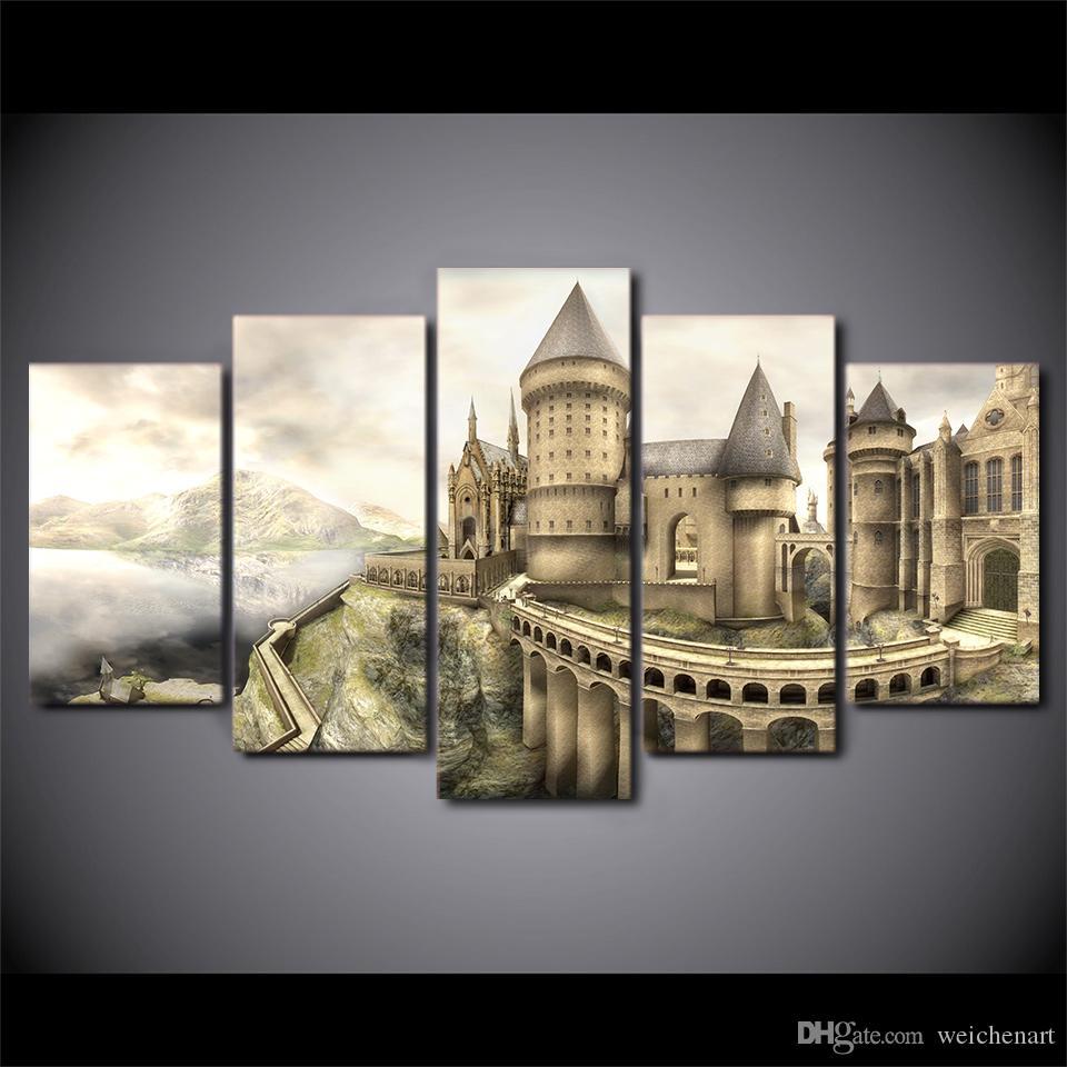 5 Paneli HD Baskılı Güzel Vintage Kale Modern Ev Dekorasyonu Tuval Sanat Duvar Resimleri Boyama