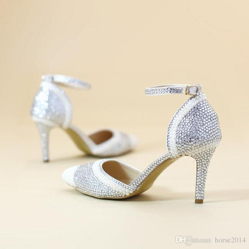 Sexy Pink Rhinestone Pointed Toe Bride Shoes Ankle Straps Gorgeous Wedding Evening Party Pumps Fashion Handmade Middle Heels