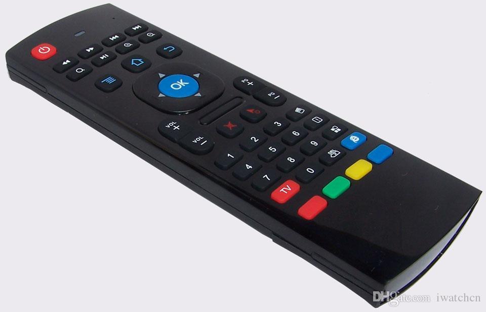 1 unids por encargo MX3 X3 T2 Sin micrófono Mini 2.4 GHz Inalámbrico Giroscopio Teclado Aire Ratón G-Sensor giroscopio remoto para STB Android TV BOX