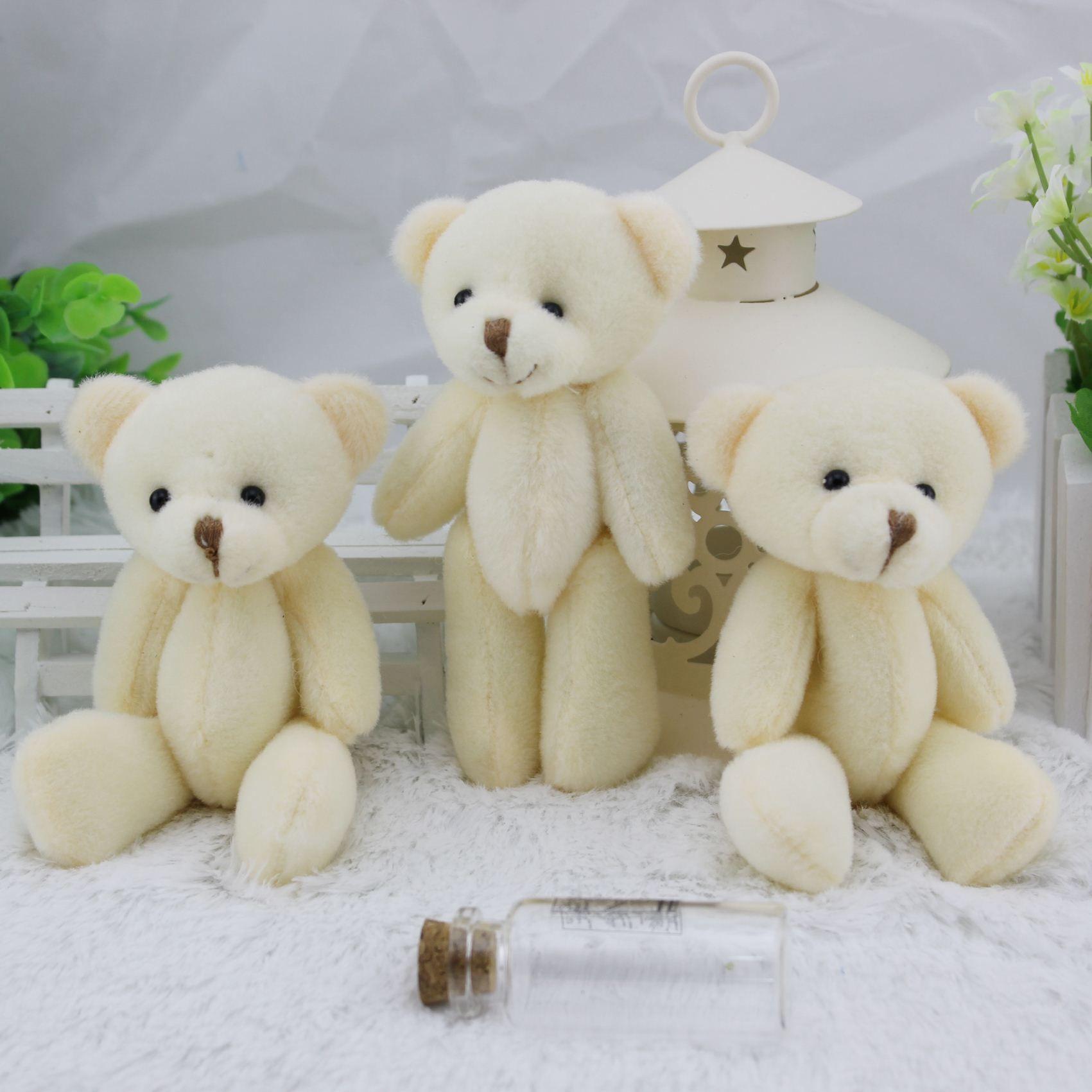 12CM White Jointed Mini Teddy Bear Kawaii Small Teddy Bear for Cartoon Bouquet Toy Wedding Gifts