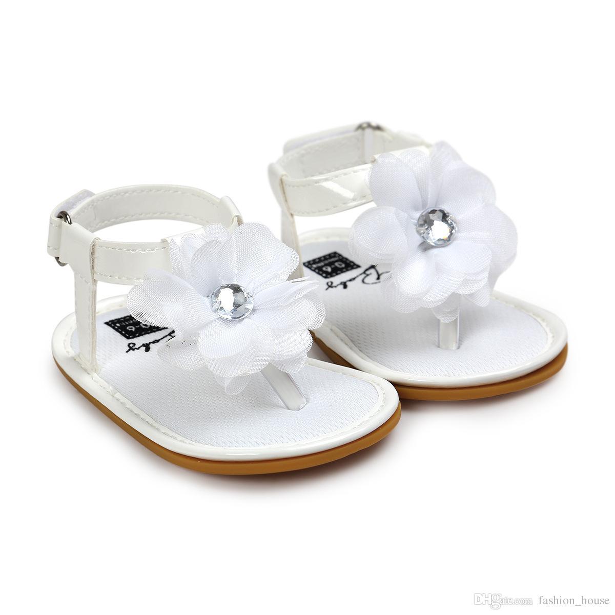 6 couleurs bébé filles fleur string sandale zoris pu semelle souple orteil-bouton sandales nourrissons été mignon mode mocassins premiers marcheurs pour A080