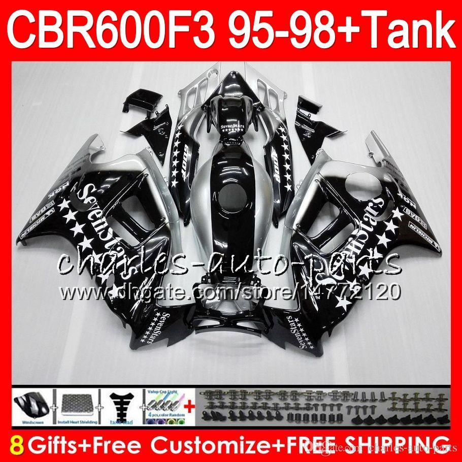 8 Gifts For HONDA CBR600F3 95 96 97 98 CBR600RR FS Seven star 2HM18 CBR600 F3 600F3 CBR 600 F3 1995 1996 1997 1998 black Fairing