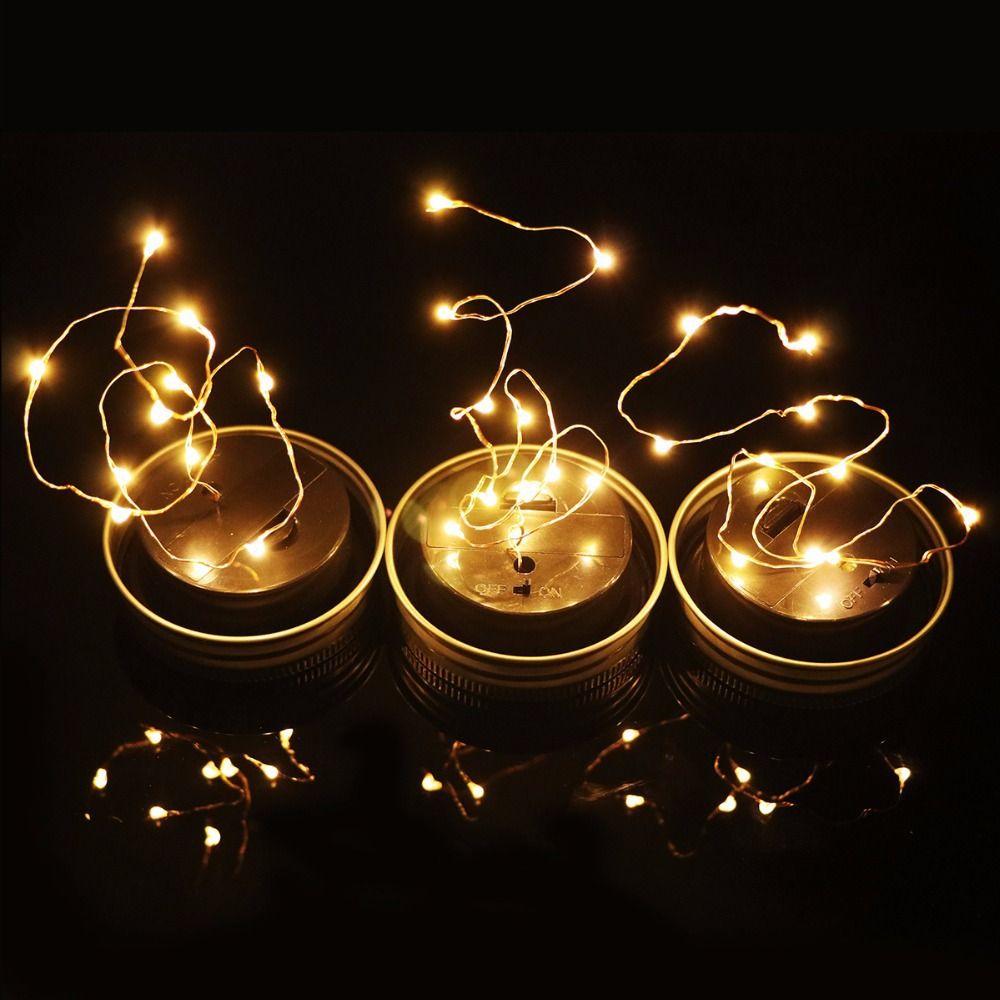 Solar Mason Jar Lid Insert Solar Powered LED Mason Jars Light Up Lid 10 LED String Fairy Lights Warm White/RGB/White/Red/Blue/Green/Pink