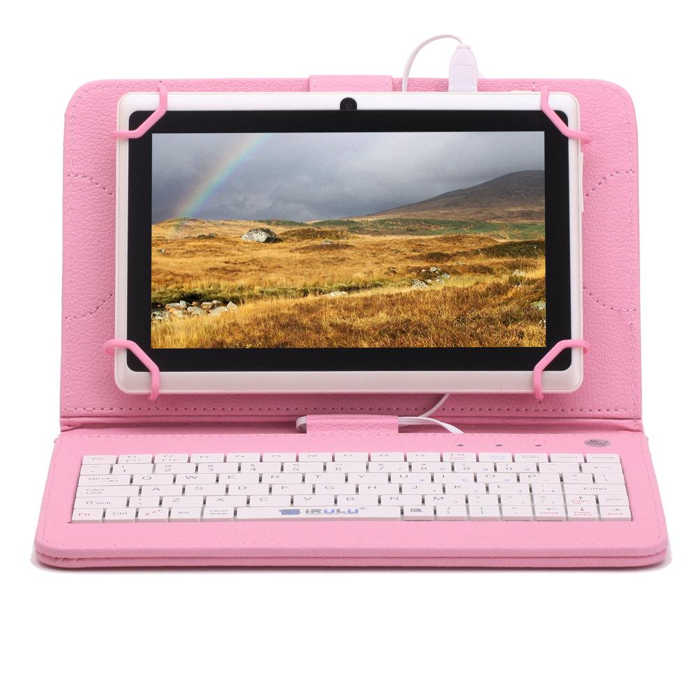 US Stock! iRULU Q88 7 inch Tablet PC Android 6.0 Tablets 8GB A33 Quad Core With Leather Keyboard Case GMS Certified