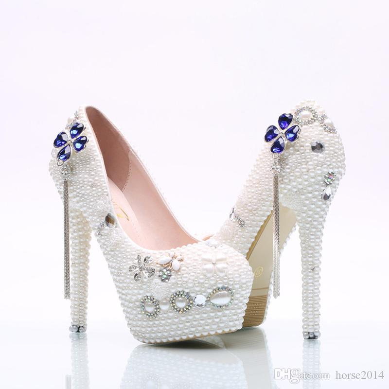 Braut Hochzeit Schuhe Weiße Perle Frauen Kleid Schuhe Mädchen Erwachsene Zeremonie Schuhe High Heel Geburtstag Prom Pumps Plus Größe 45
