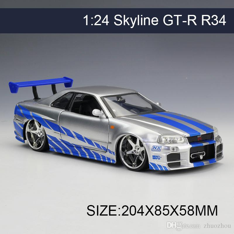 2019 jada 1 24 model car skyline gt r gtr r34 metal vehicle play