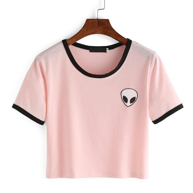 5e0dcb0b5f6a69 Großhandel Rosa Weiß Mode Frauen Alien T Shirt Sommer Stil Harajuku T Shirt  Nette Graphic Print Tees Weibliche Kawaii T Tops Heißer Verkauf 17310 Von  ...