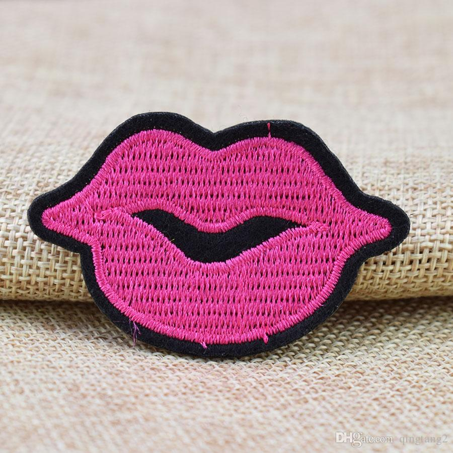 pink lips embroidery patches for clothing iron-on patch sewing accessories badge stickers on clothes applique iron on fashion patches
