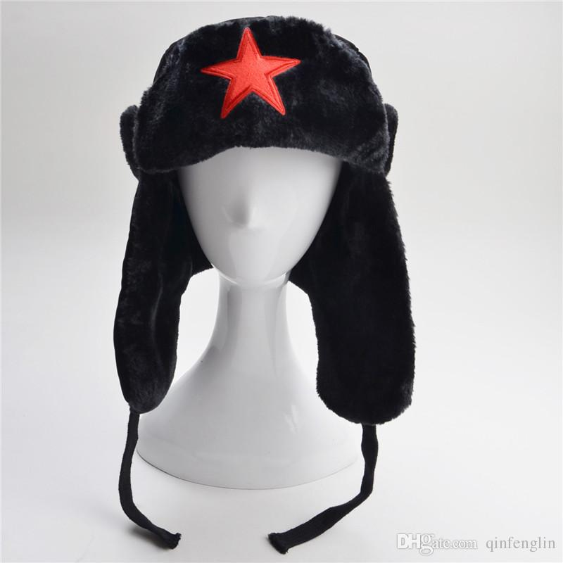374f62ef035 2019 Woman Faux Fur Lined Trapper Hat Warm Windproof Winter Russian Hats  With Ear Flaps Man Snow Star Caps Adult And Children Bomber Cap From  Qinfenglin