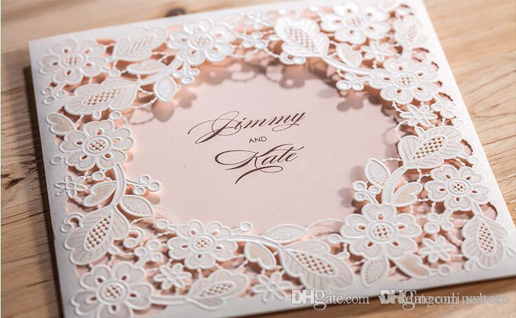 2017 Hollow White Flowers Wedding Invitations Card Free Customized Printing Laser Cut Birthday Party Invitation Cards With Envelope Cheap Baby
