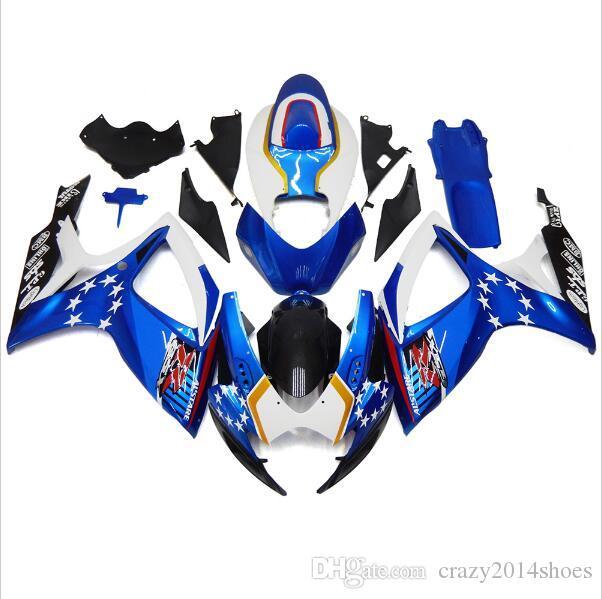Free gifts+Seat Cowl New bike Fairing Kits For SUZUKI GSXR 600 750 K6 06 07 GSXR-600 GSXR750 GSXR600 GSXR-750 2006 2007 good blue white nice