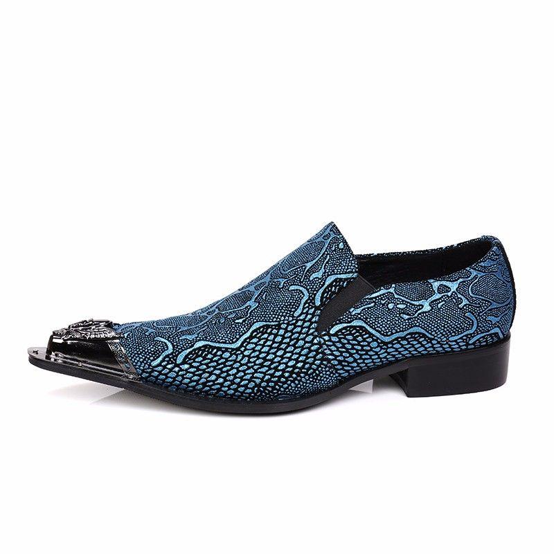 Mode Italienische Echtes Leder Formale Männer Kleid Schuhe für Hochzeitsbankett Schlangenleder Business Designer Schuhe Blau Männer Wohnungen