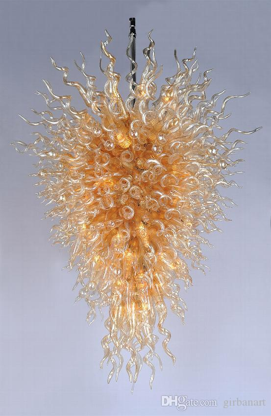 Dale Chihuly Style Gold Glass Crystal Chandelier Home Hotel Decor Wholesale Cheap Price Hand Blown Art Glass Large Chandelier with LED Bulbs