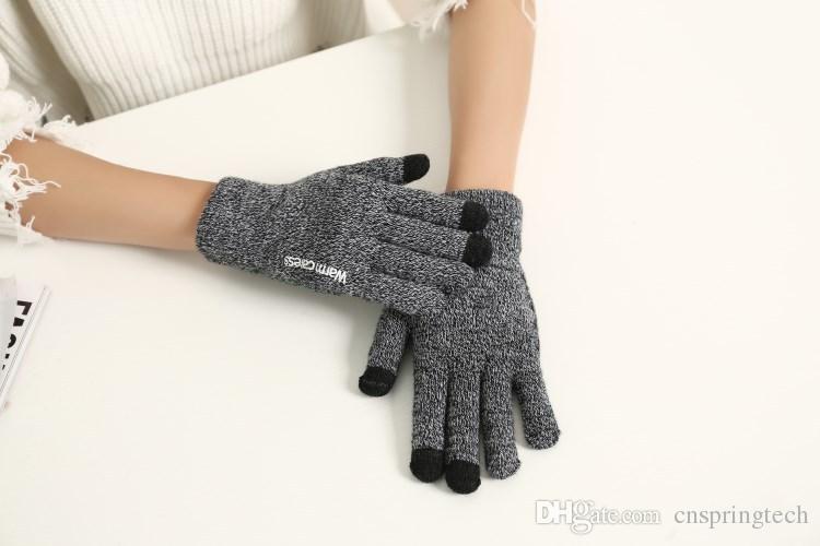 Más barato! Invierno cálido toque guante algodón pantalla capacitiva guantes conductivos tamaño libre elástico para iphone X 8 samsung S8 ipad envío gratis