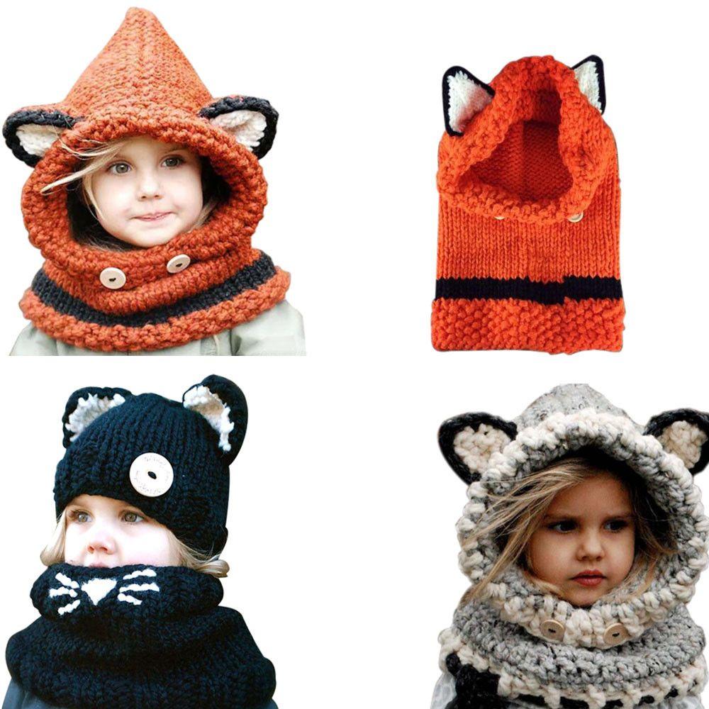 Handmade Kids Winter Hats Wrap Fox Scarf Caps Cute Autumn Children Wool  Knitted Hats Touca Infantil UK 2019 From Yemiaohua 92c725ad7c1