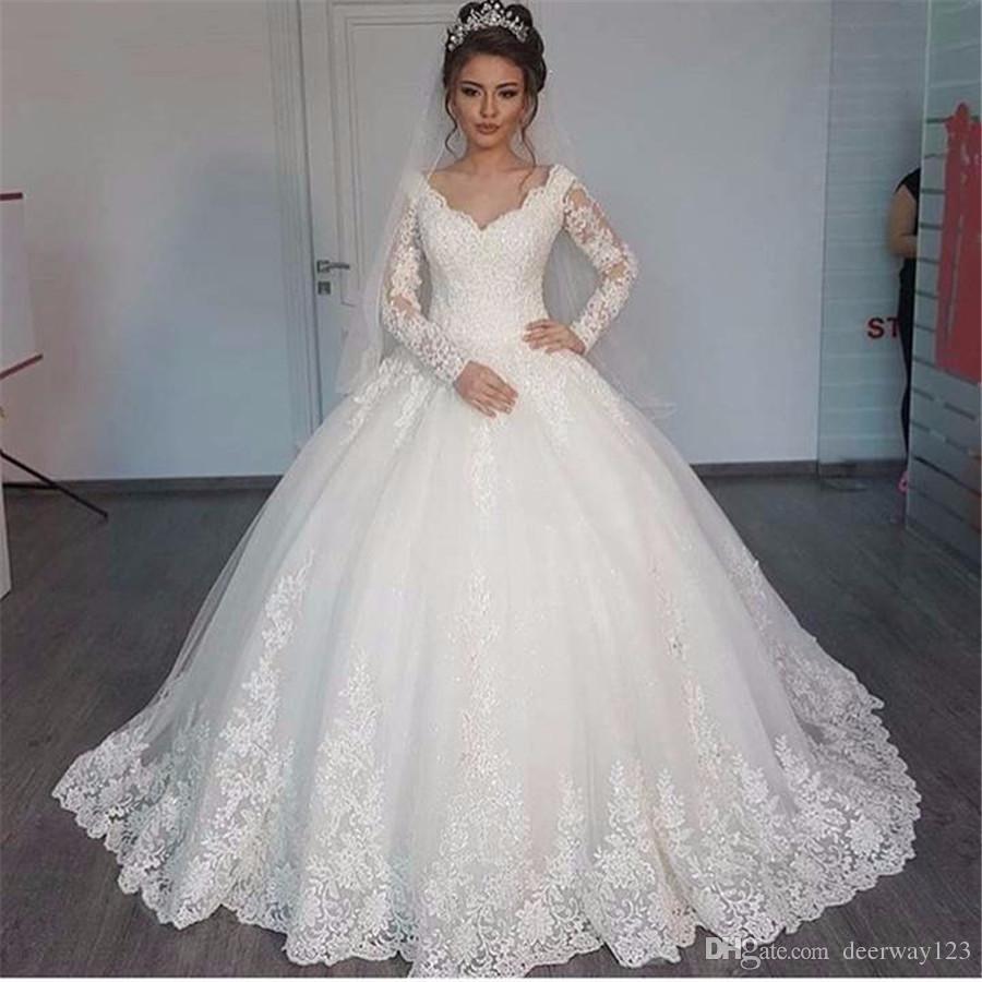 Precioso V-cuello del vestido de bola largo vestido de la manga 2020 del Applique del cordón blanco de la boda Vestidos robe de mariage