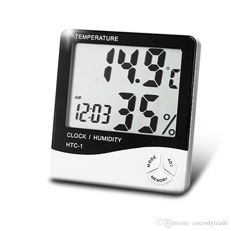 Digital Weather Station Indoor Digital C/F Thermometer Hygrometer Clock Office LCD Temperature Humidity Meter Monitor HTC-1