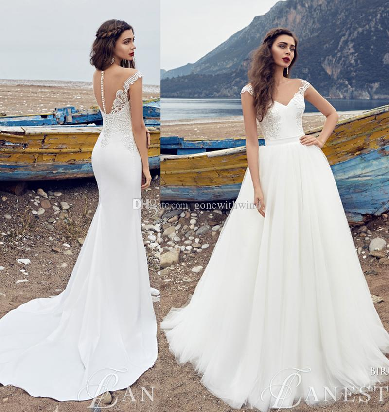 Detachable Cathedral Train Wedding Gown: Detachable Train Beach Wedding Dresses 2017 V Neckline