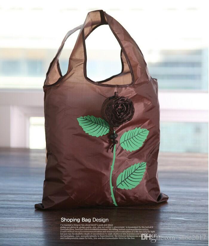 Sacos de compras ambientais reusáveis dobráveis bonitos de Rosa Rosa