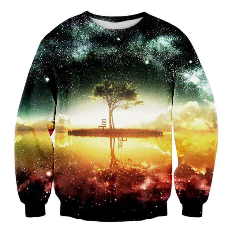 68e241017958 2019 Wholesale Harajuku Sweatshirt Men 3d Printed Space Galaxy Reflection  Tree Nightfall Graphic Pullover Fashion Clothing Jumper Sweats Hoodie From  Felix06 ...