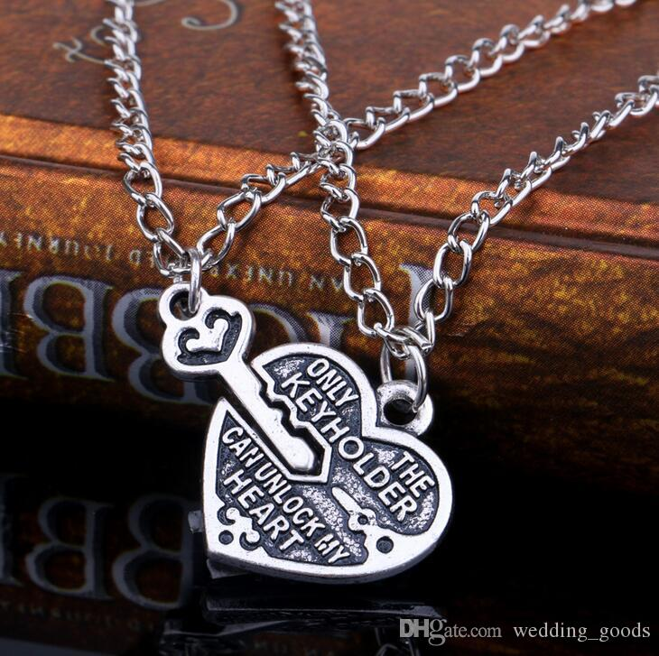 Hot sale Good friend peach heart lock key best friend necklace simple love witness necklace WFN007 with chain a