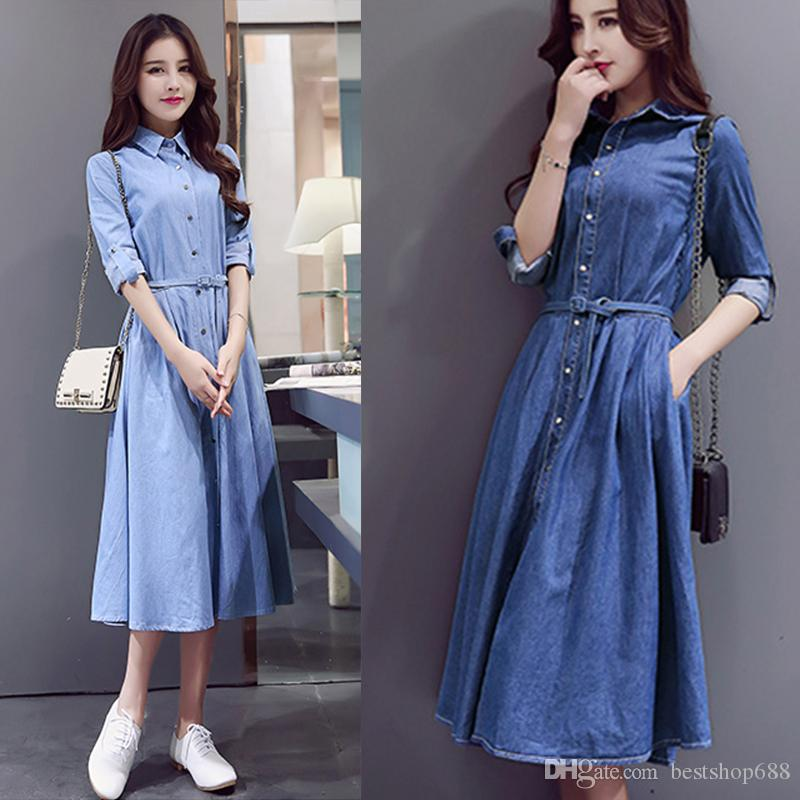 d9ab86ca54 Compre Mulheres Denim Vestido Ladies Primavera Verão Casual Slim Denim  Vestido Longo Mulheres Jeans Maxi Dress De Bestshop688