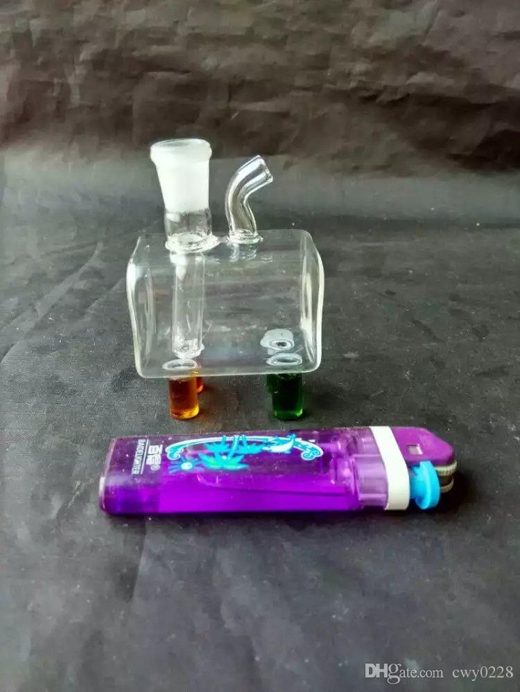 Mini small square glass hookah bongs accessories , Unique Oil Burner Glass Bongs Pipes Water Pipes Glass Pipe Oil Rigs Smoking with Dropper