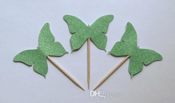 green glitter butterfly cupcake toppers rustic wedding baby shower