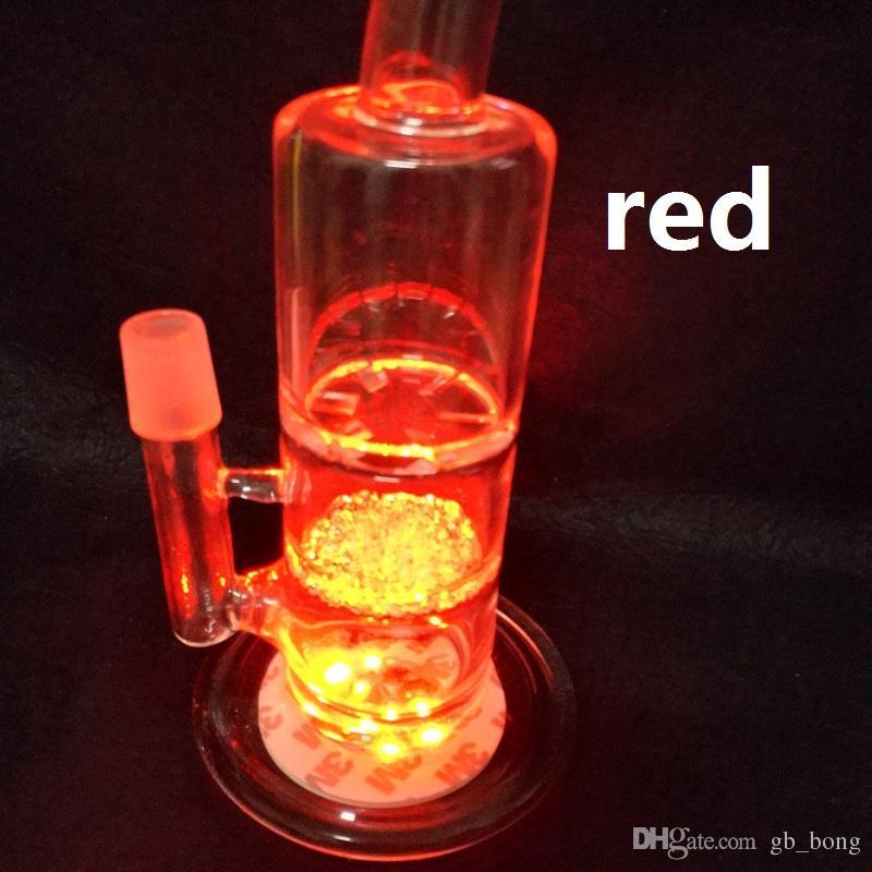 Vente chaude LED Lumière Verre Bong Base LED Lumière avec réglage automatique multi couleurs Free DHL