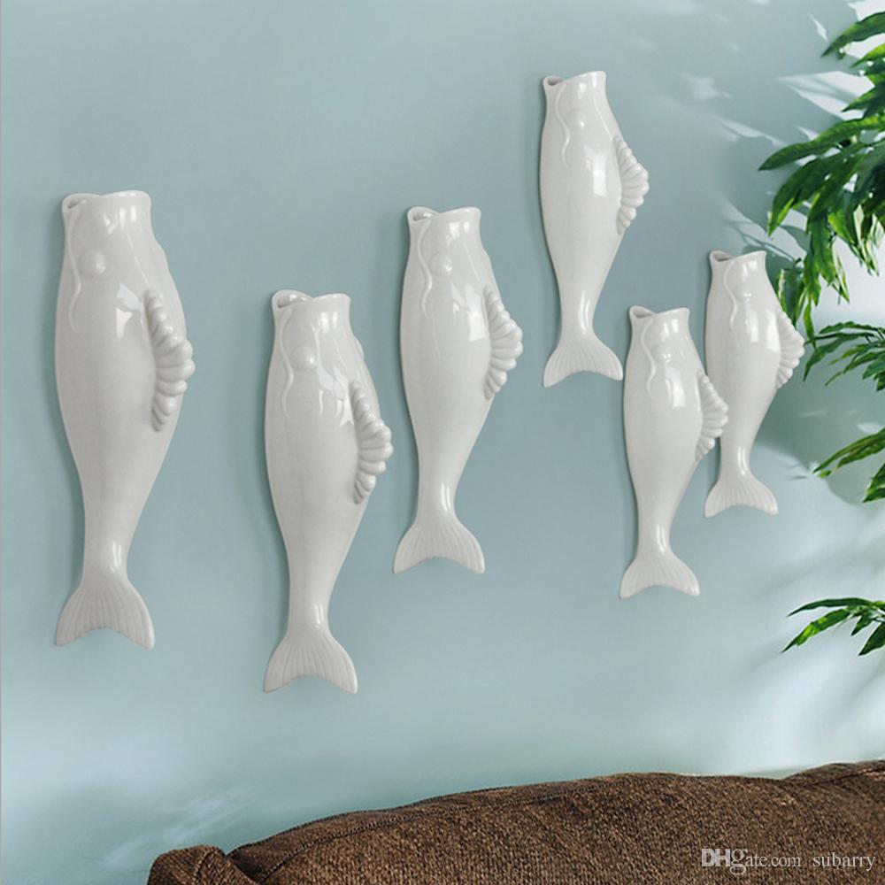 Elegant White European Style Creative Fish Ceramic Wall Hanging