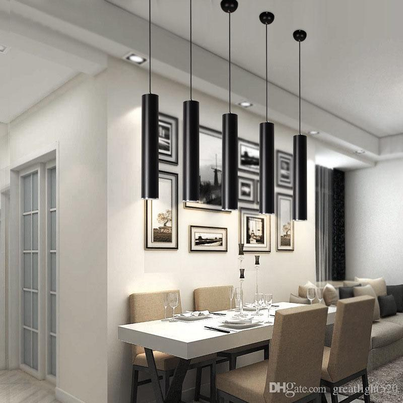 5w pipe pendant lamp cylinder lights spot lights straight droplight downlight for dining living for Pendant lighting living room