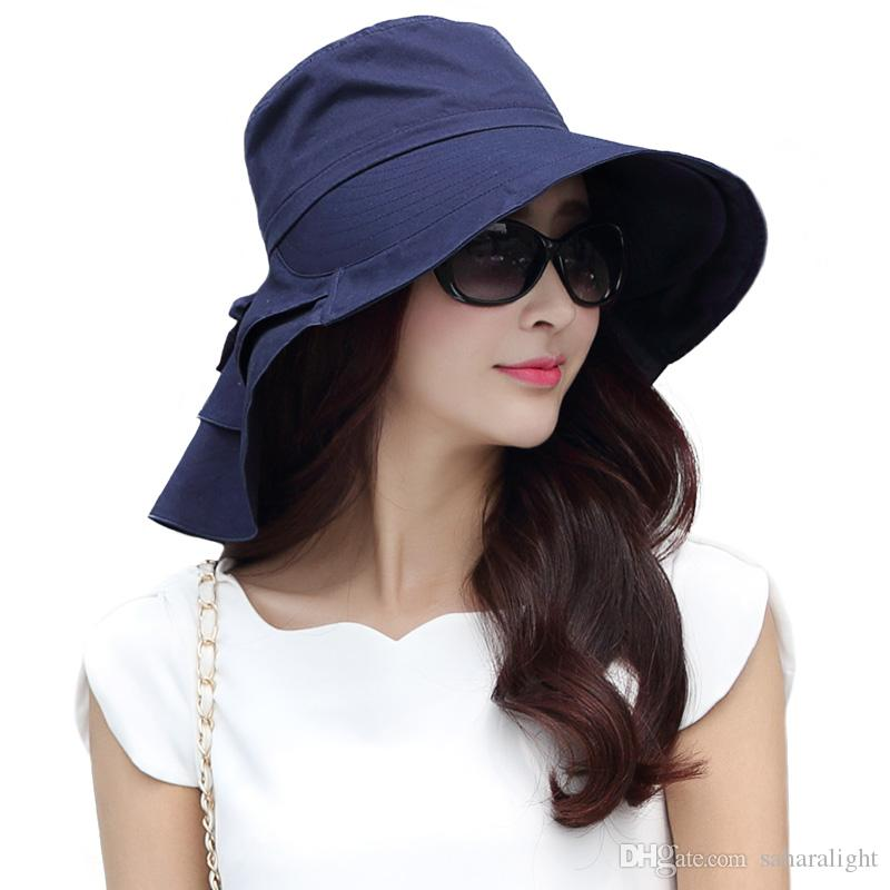 1c103d88c56 Hot New 2017 Brand Women Summer Cap UV Cotton Sun Hat Packable Wide Brim  With Neck Cover Cord UPF50 Fashion Elegant 69085 Scala Hats Wholesale Hats  From ...