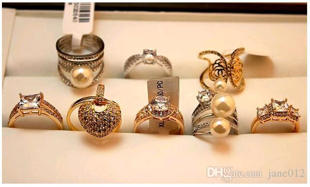 Mischungs-Art viele Entwürfe Edelstein-Ring übertriebenes 18K reales Gold überzogenes Mikro pflastern Zircon-Finger-Ring-Art- und Weiseschmucksachen im Großverkauf