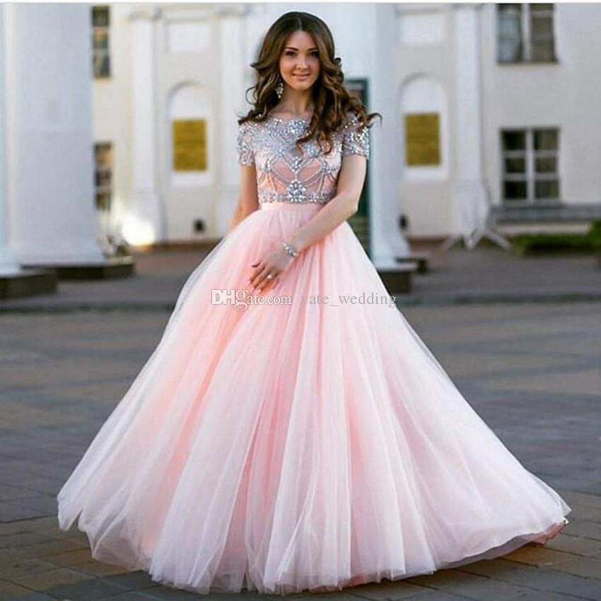 6117b277c5 Tulle White Short Sleeves Prom Dresses Delicate Crystal Beaded Two Piece  Plus Size Backless Graduation Homecoming Party Dresses Designer Prom Dresses  Uk ...