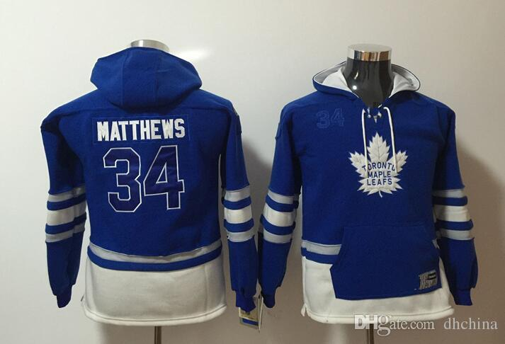 online store 3d8b5 7898e Toronto Maple Leafs Youth Hoodies Jerseys #34 Matthews Kids Hockey Hoody  Blue Color Stitched S/M L/XL Old Time Mix Order All Jerseys
