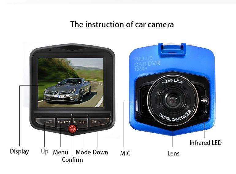 "720P 2.4""LCD Car DVR Camera IR Night Vision Video Tachograph G-sensor Parking Video Registrator Camera Recorder Retail packing boxes"
