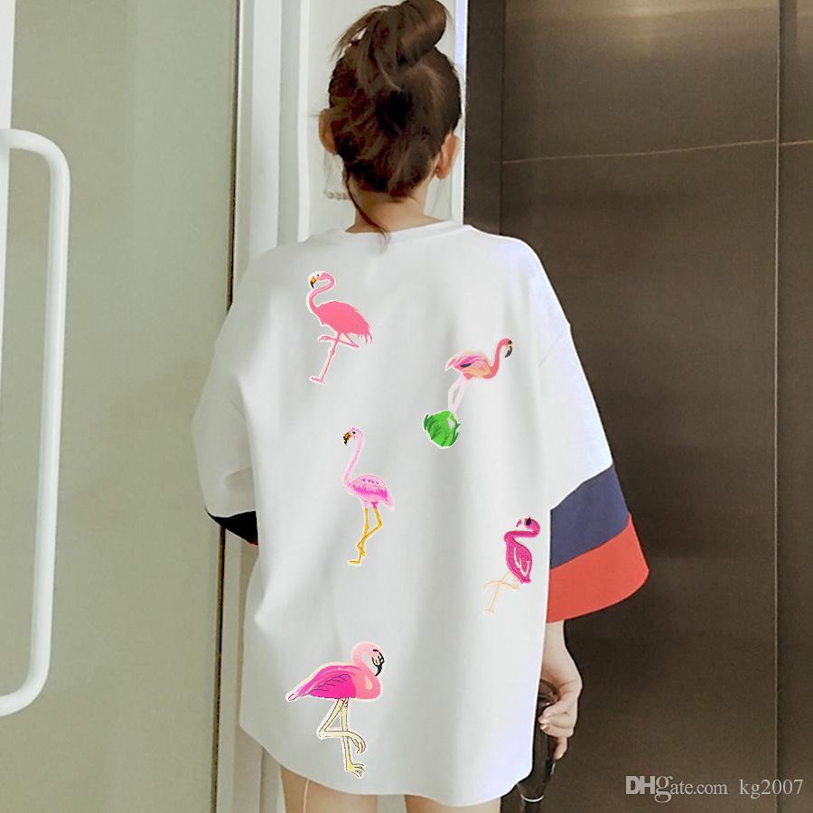 10 видов фламинго вышитые патчи для одежды сумки утюг на трансфер аппликация патч для платья джинсы DIY шить на вышивку детские наклейки