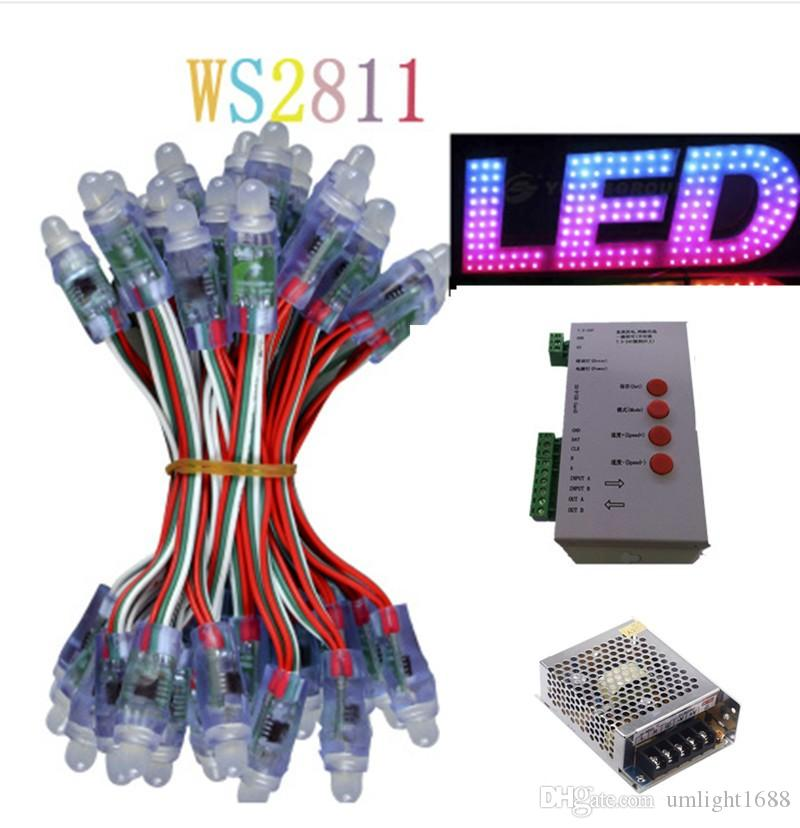 DHL1000pcs WS2811 led Pixel Modules DC 5V 12mm IP68 RGB diffused addressable + T1000S Controller +1PCS 60A Power adapter