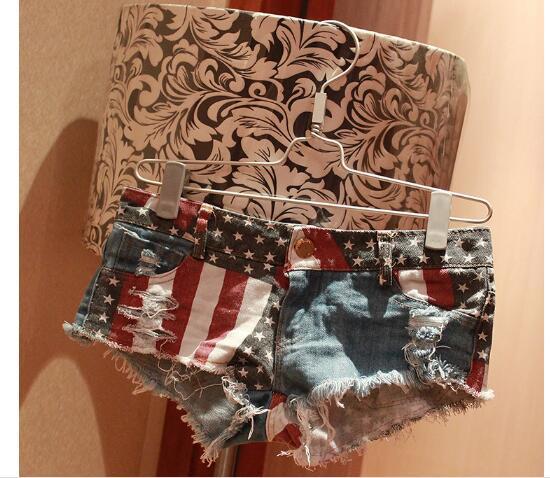 Sexy Womens Girls Skinny bandera estadounidense de Estados Unidos Mini Shorts Jeans Hot Denim cintura baja Jean verano talla S-XXL