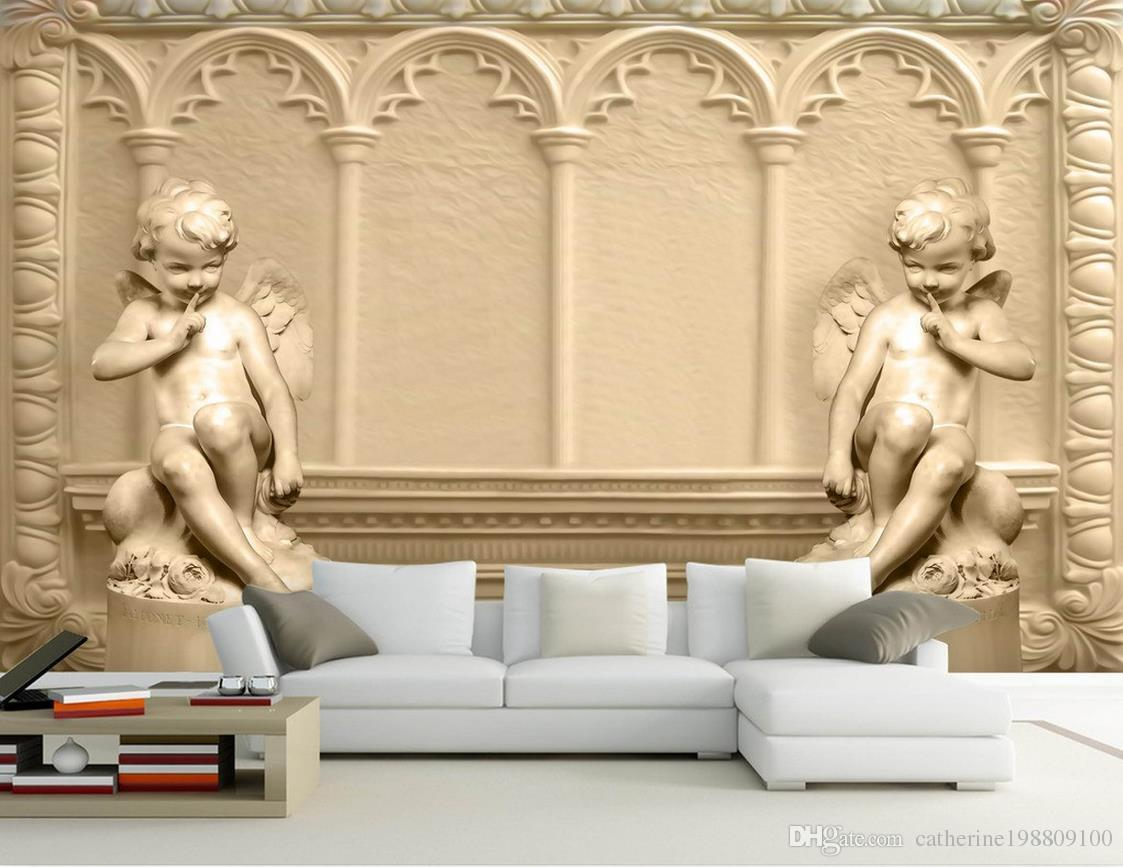 Hd 3d Stereo Cupid Embossed European Background Wall Mural 3d