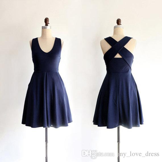 Simple Navy Blue Cross Back Straps Prom Dress Retro Halter Style Scoop Bridesmaid Dress Back Cut out Fit and Flare Dress with Pockets