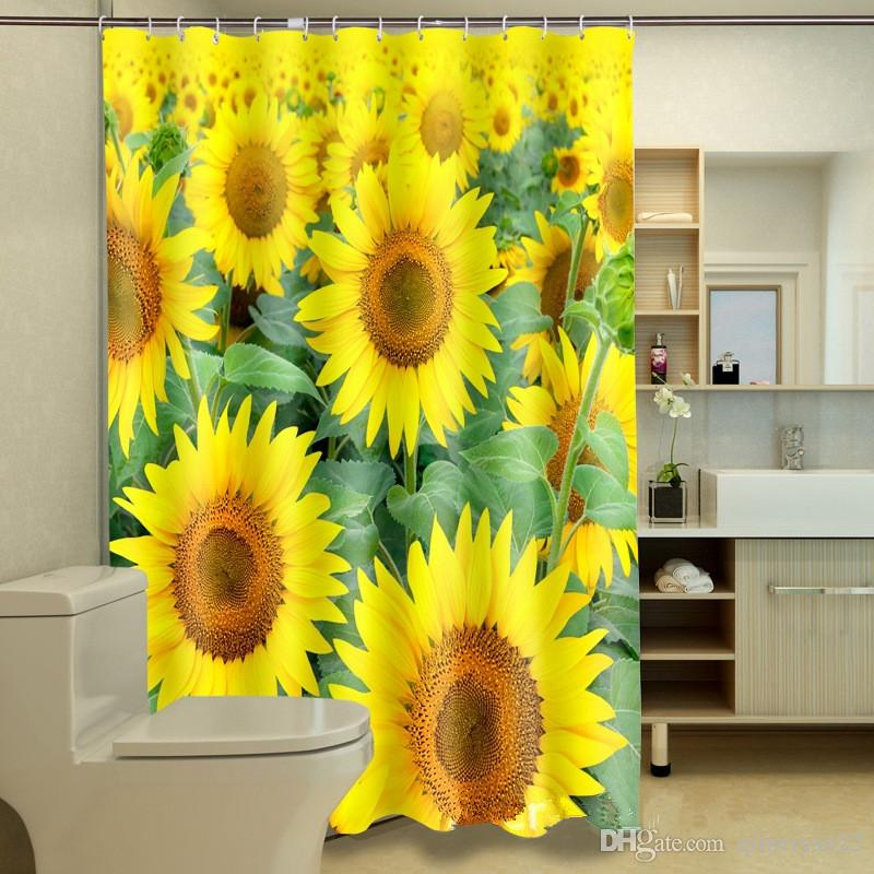See larger image - 2017 Sunflowers Shower Curtain Personalized Waterproof 3d Shower